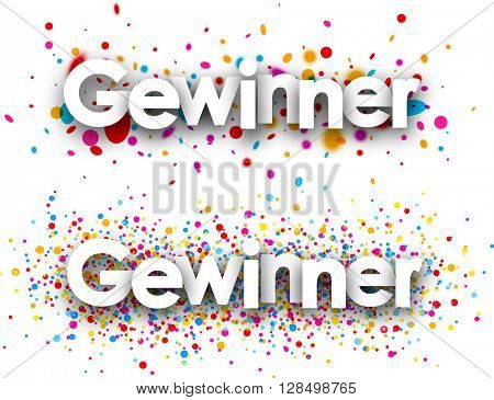 Winner paper banners set with color drops, German. Vector illustration.