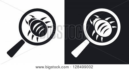 Vector antivirus scanning icon. Two-tone version on black and white background