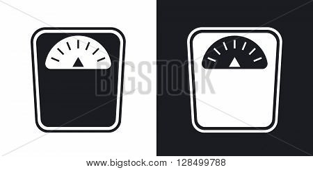 Vector bathroom scales icon. Two-tone version on black and white background