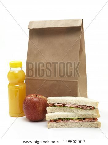 Isolated brown paper lunch bag isolated on a white background