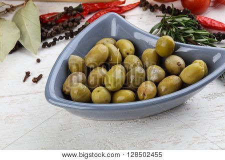 Green Olives In The Bowl