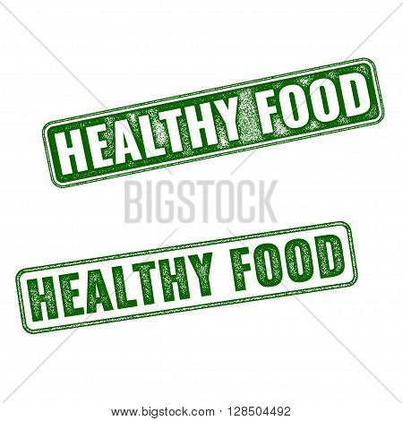 Set Of Green Vector Healthy Food Rubber Stamp