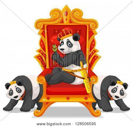 Three pandas at the throne illustration