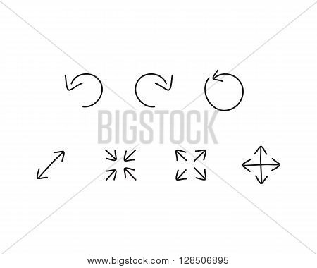 different Arrows icons computer comunication tach .Vector illustration.