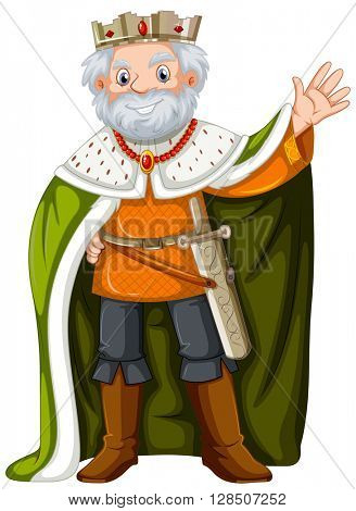 King with green robe illustration