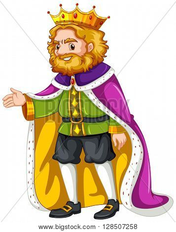 King wearing purple robe illustration