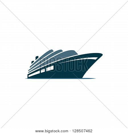 Blue cruise ship on blue ocean on the white background.