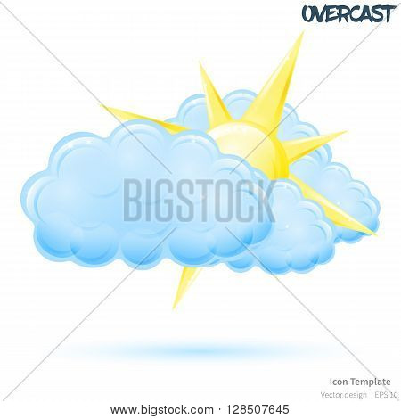 Fully vector overcast icon template. Glossy yellow sun object. Glossy blue cloud object. Overcast template with blue shadow. Overcast template icon for various icon.