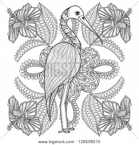 Zentangle Hand drawn Stork in Hibiskus for adult antistress coloring pages, post card, t-shirt print, fabric. Exotic Bird illustration in doodle style, tattoo monochrome design. Animal sketch.