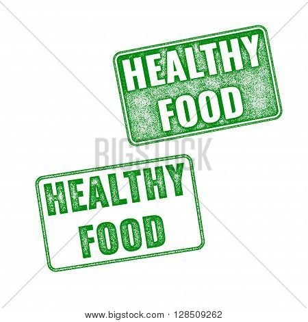 Green Realistic Vector Healthy Food Rubber Stamp