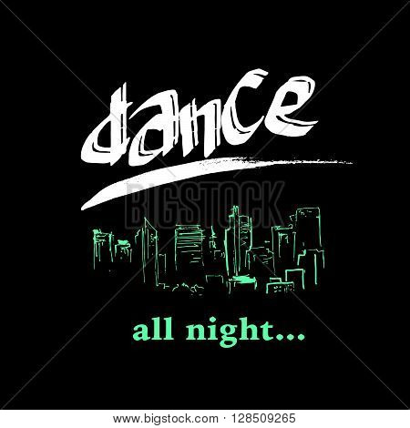 Vector dance studio logo. Dance club icon. Music. Rhythm. Dance floor, dance pool icon. Night disco bar, club logo icon. Hand drawn city scape. Pole dance. Ball room dance. Dance school insignia.