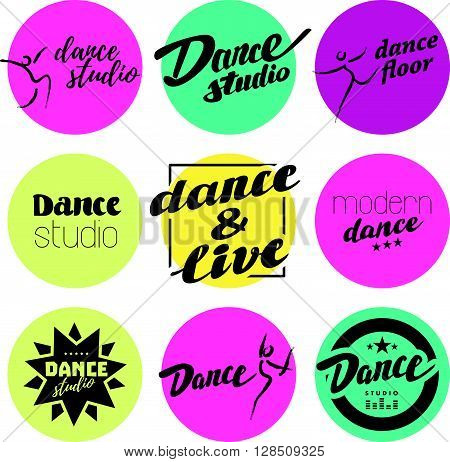 Vector flat dance studio logo. Dance flat emblem set. Dancing icon. Human icon. Human figure. Modern dance center. Pole dance. Ball room dance. Dance school insignia. Hand written font, lettering.