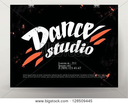 Vector dance studio logo. Dance grunge background. Music. Rhythm. Dance floor, dance pole icon. Paint drops splattered. Modern street dance poster style. Ballet. Pole dance. Ball room dance. Dance school insignia.