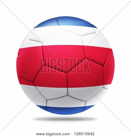 3D Illustration soccer ball with Costa Rica team flag, isolated on white