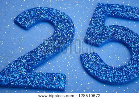 Number twentyfive blue color over a blue background. Anniversary. Horizontal
