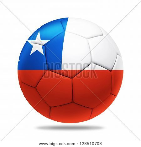 3D Illustration soccer ball with Chile team flag isolated on white