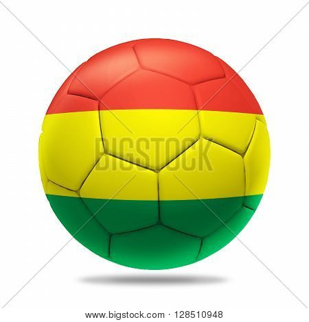 3D Illustration soccer ball with Bolivia team flag, isolated on white