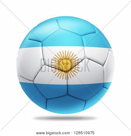 3D Illustration soccer ball with Argentina team flag isolated on white