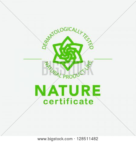 Vector flat eco product emblem. Ecological cosmetic sign. Eco badge. Natural product line. Nature certificate quality. Flower icon. Eco symbol. Natural cosmetics. Eco friendly logo. Bio organic product.