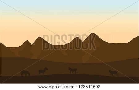 Silhouette of zebra in desert with brown backgrounds