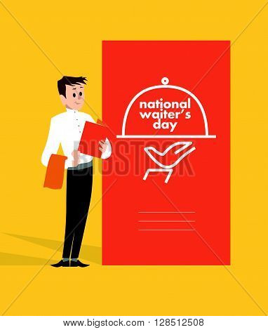 Vector flat simple friendly character isolated. Text message. Profession human icon. Person portrait. Waiter portrait.