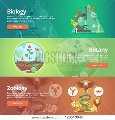 Science of biology. Natural science. Vegetable life. Botany knowledge. Animal planet. Zoology. Zoo. World of wildlife. Education and science banners set. Vector design concept.