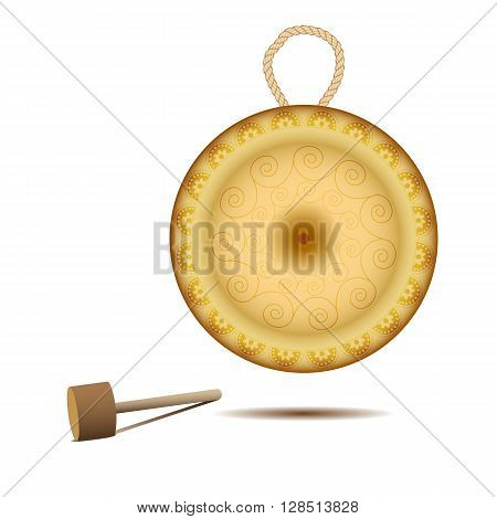 Vector illustration. Realistic golden gong on a white background. Isolated gong and hammer. Traditional musical instrument. Bronze disc.