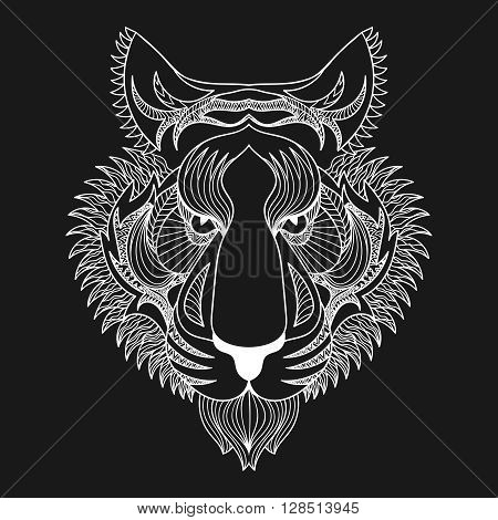 Vector white Tiger. Zentangle Tiger face illustration, Tiger head print for adult anti stress coloring page. Hand drawn artistically ornamental patterned decorative animal for tattoo, boho design