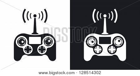 Drone remote control icon stock vector. Two-tone version on black and white background