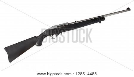 Semi automatic rifle for rimfire cartridges isolated on white