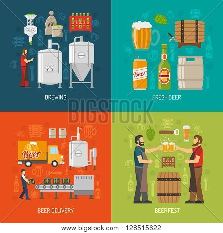 Brewery Flat Concept. Brewery Icons Set. Brewery Vector Illustration. Brewery And Beer Symbols. Brewery Design Set. Brewery Elements Collection.