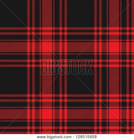 Menzies tartan black red kilt skirt fabric texture seamless pattern.Vector illustration. EPS 10. No transparency. No gradients.