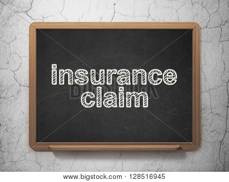 Insurance concept: text Insurance Claim on Black chalkboard on grunge wall background, 3D rendering