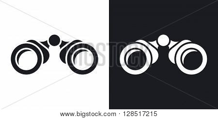 Vector binoculars icon. Two-tone version on black and white background