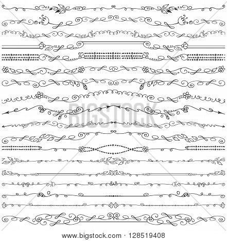 Doodles seamless border, pattern, brushes and florish decor set.For design templates, invitations and menu.Vintage Hand drawing .For weddings, Valentines day, holidays and birthday.Vector