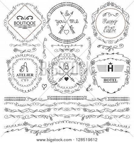 Doodles seamless border, frame, arrow, brushes and florish decor elements set.For logo design templates, invitations and menu.Vintage Hand drawing .For weddings, Valentines day, holidays and birthday.Vector