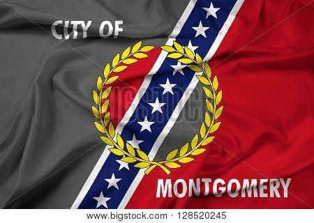 Waving Flag of Montgomery Alabama, with beautiful satin background.