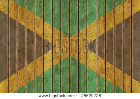 Illustration of the Jamaican flag against a background of wooden panels