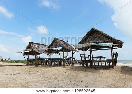 Three huts on the beach in Nakhon si thammarat Thailand