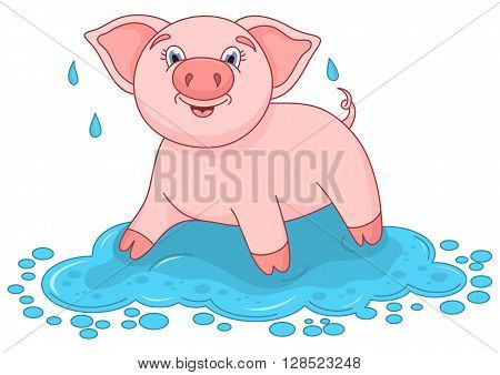 Vector illustration of cute pig in a puddle, funny piggy standing on water puddle