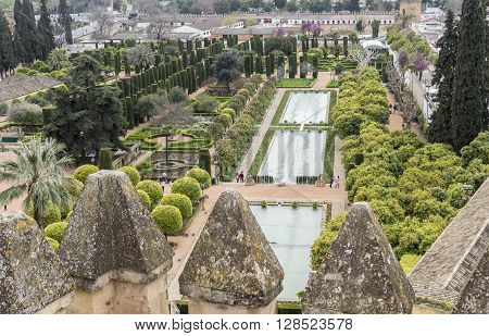 Gardens of Alcazar de los Reyes Cristianos in Cordoba Spain