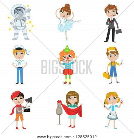 Children Future Profession Collection Of Simple Design Illustrations In Cute Fun Cartoon Style Isolated On White Backgroun