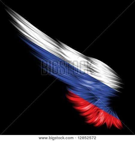 Abstract Wing With Russia Flag On Black Background