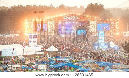 Kostrzyn nad Odra Poland - August 1 2015: Evening concert on main stage and tents at the 21th Woodstock Festival Poland (Przystanek Woodstock).