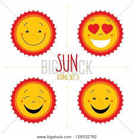 Baby cute vector sun icon set. Cute baby smile sun logos collection. Smiley icon art logo designs. Sun vector with arrows. Sun icons set isolated on white background. Vector icons set. Vector clipart.