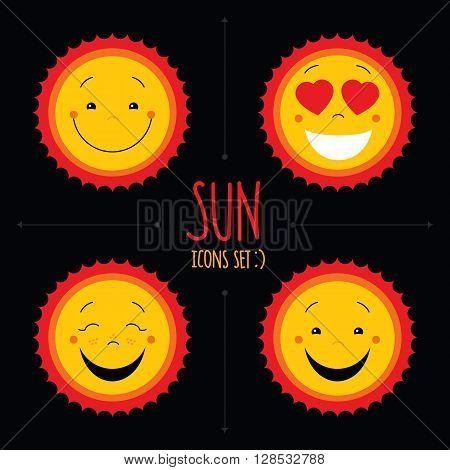 Baby cute vector sun icon set. Cute baby smile sun logos collection. Smiley icon art logo designs. Sun vector with arrows. Sun icons set on black background. Vector clipart, vector illustration.