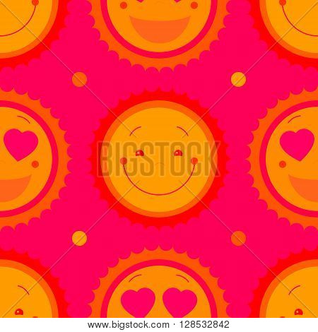 Vector seamless baby girl background with sun. Smiley face suns cute seamless pattern for baby fashion. Cute kids repeat pattern for little girl dress. Vector kids seamless pattern for kids room decor