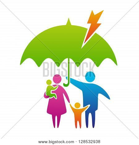 Happy and loving family with children under umbrella protection from lightning and bad weather family care