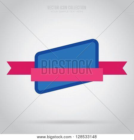 Flat vector badge. Vintage design badge. Abstract badge template. Retail badge. New badge. Business badge. Web sticker. Blank badge. Isolated vintage badge. Badge set. Colorful modern badge. Ribbon badge. Badge icon. Advertisement badge. Blank vintage lab
