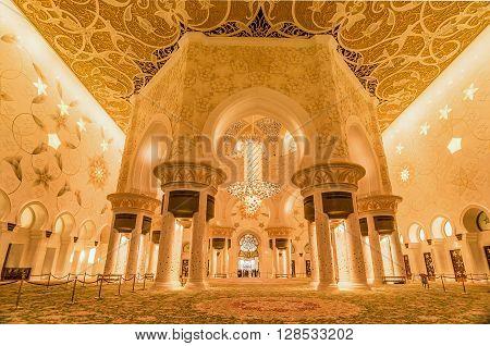 Abu Dhabi, UAE- March 2, 2016: Interior in Sheikh Zayed Grand Mosque in Abu Dhabi UAE